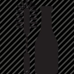 bottle, brush, cleaning, dish, wash icon