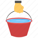 bucket, full water, water bucket, water consumption, water usage icon