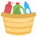 cleaning supplies, detergent bottles, dishwashing liquids, laundry cleaners, liquid cleaners icon