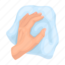 cleaning, hand, rag, wipe icon