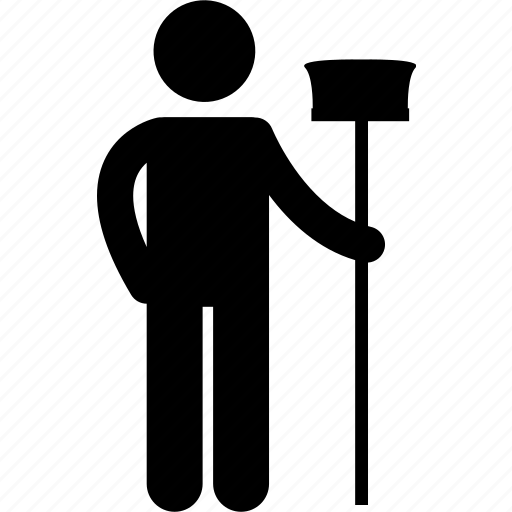 broom, broomstick, cleaner, cleaning, maid, man, standing icon