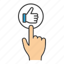 click, finger, internet, like, press, sign up, thumb up icon