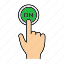 click, finger, on, power, press, switch on, turn on icon
