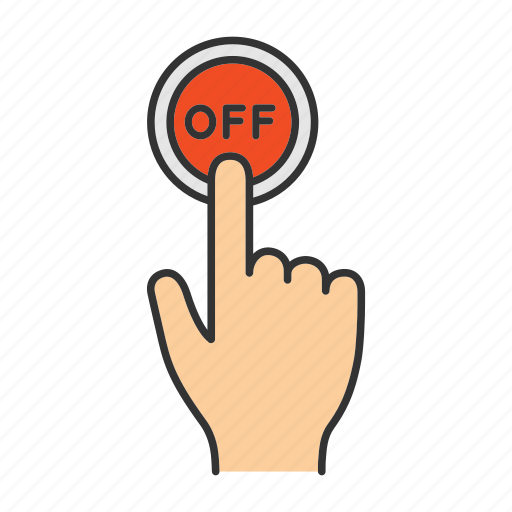 click, finger, off, power, press, switch off, turn off icon