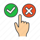 accept, click, cross, decline, finger, select, tick icon