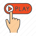 click, finger, music, online, play, start, video icon