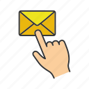 click, email, finger, internet, mail, message, post icon
