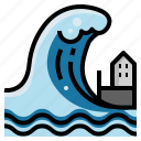 beach, destruction, disaster, floods, house, tsunami, wave icon