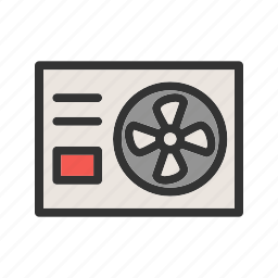ac, airconditioner, control, fan, outside, unit, wall icon