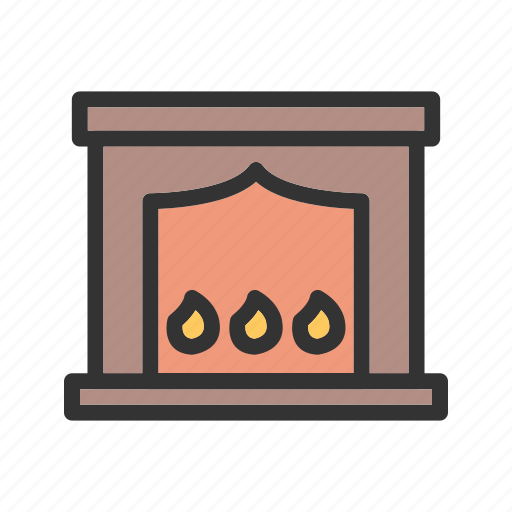 burn, electric, fire, fireplace, heater, home, room icon