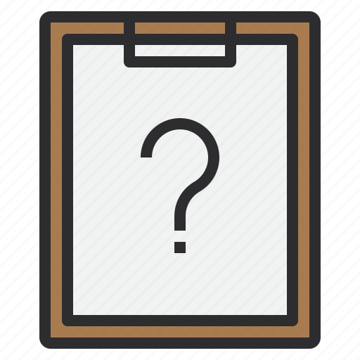 business, clipboard, help, paper, question icon