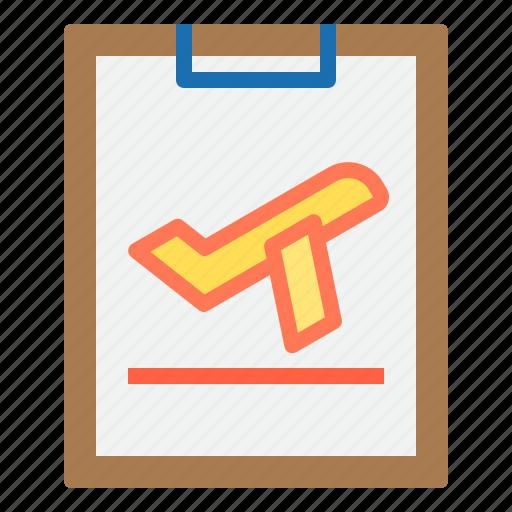 business, clipboard, flight, paper, plane, travel icon
