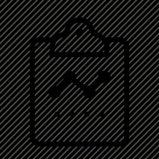 analytics, chart, clipboard, line icon