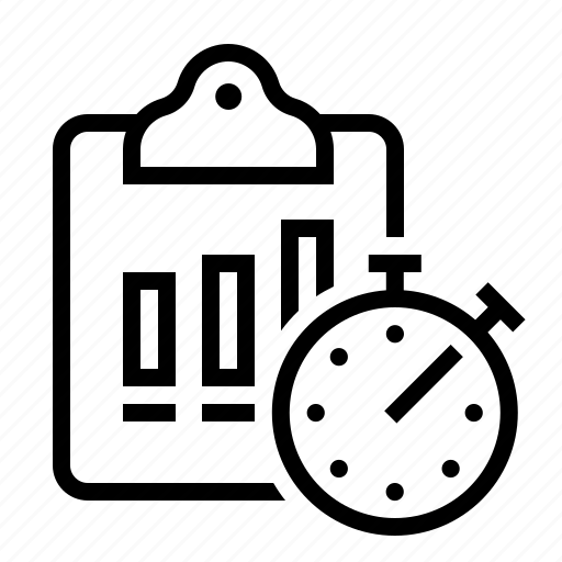 bar, chart, clipboard, stopwatch icon
