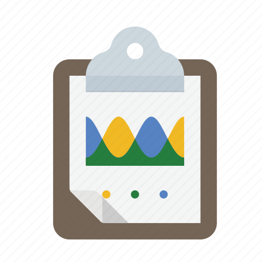 analytics, area, chart, clipboard icon