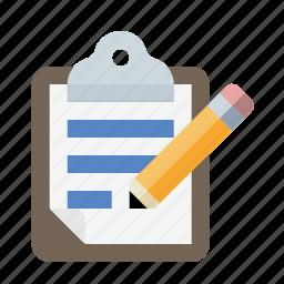 clipboard, document, edit, pencil icon