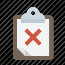 clipboard, fail, reject, survey icon