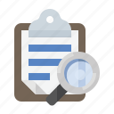 clipboard, glass, inspect, magnifying, search icon