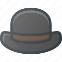 bowler, gentleman, hat icon