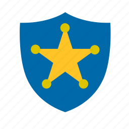 badge, chief, county, police, sheriff, shield, star icon