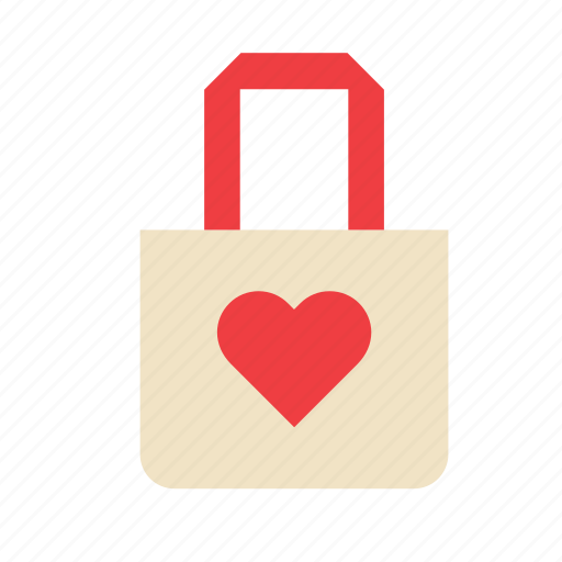 accessory, adornment, bag, clothing, garment, heart, love icon