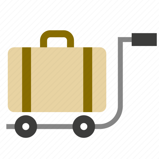 airport, briefcase, cart, clothing, luggage, suitcase, trolley icon