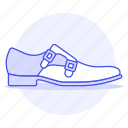 accessory, blue, buckle, clothes, footwear, leather, light, shoes, side icon