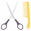 scissor, comb, fashion, accessory icon