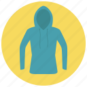 blue, clothes, hood, hoodie, shirt, sweater icon