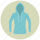 blue, clothes, fashion, hood, hoodie, shirt, sweater icon