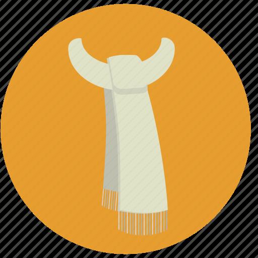 clothes, fashion, scarf, shawl, white scarf icon