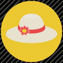 beach, clothes, fashion, flower hat, hat, headwear, summer, summer hat, women icon