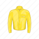 cartoon, cloth, fashion, man, shirt, sign, yellow icon