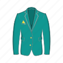 cartoon, cloth, clothing, green, jacket, man, sign icon