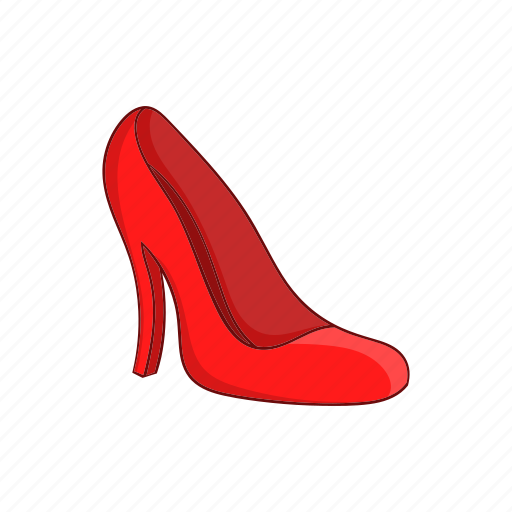 cartoon, fashion, heel, red, shoes, sign, women icon