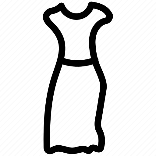 clothes, dress, full skirt dress, girl, half sleeves dress, house dress, women icon