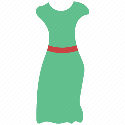 clothes, dress, full skirt dress, girl, half sleeves dress, house dress, women icon