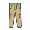 cargo, clothes, clothing, fashion, long pants, pants, trousers icon