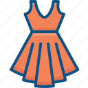 dress on hanger, female dress, festive dress, skirt dress, vintage dress icon icon