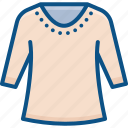 apparel, clothes, sweater, top, winter icon icon