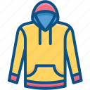 cloth, hood, jacket, sport, style, sweater, winter icon icon