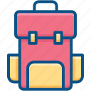 backpack, baggage, book bag, hiking bag, school bag icon icon