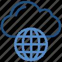 cloud, cloud connectivity, cloud service, data, globe, network, storage icon