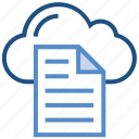 cloud, cloud page, document, file, paper, storage, text icon