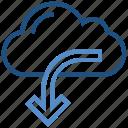 arrow, cloud, data, download, storage, weather icon