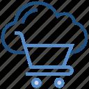 cloud, cloud cart, cloud trolley, database, shopping cart, shopping trolley, storage icon