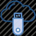 cloud, cloud data, data, icloud, server, storage, usb icon