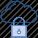 cloud, computing, lock, protection, security, storage