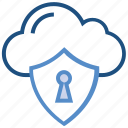 cloud, lock, protection, security, server, shield, storage icon