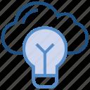 bulb, cloud, cloud solution, idea, light, server, storage icon